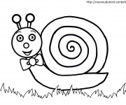Coloriage Escargot porte Noeud