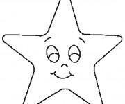 Coloriage Étoile avec visage