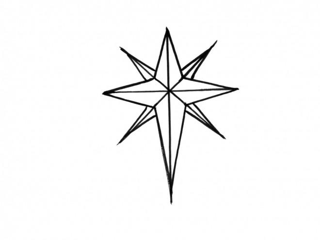 Coloriage étoile De Noël à Huit Branches