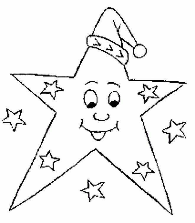 Coloriage étoile De Noël Qui Porte Un Bonnet