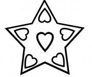 Coloriage Étoile et coeurs