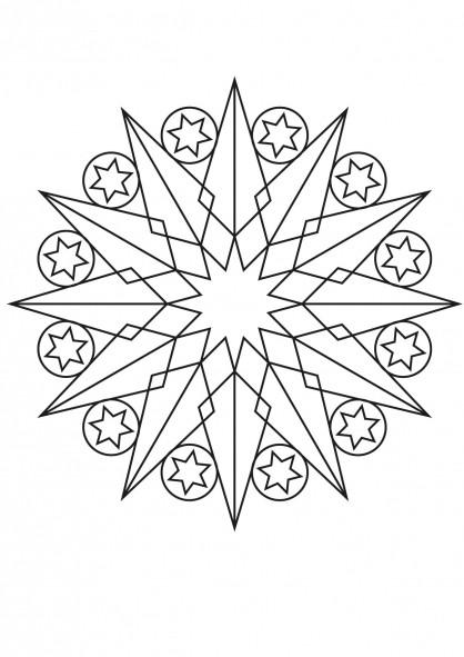 Coloriage et dessins gratuits Gabarit Étoile mandala à imprimer
