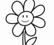 Coloriage et dessins gratuit Fleur avec visage à imprimer