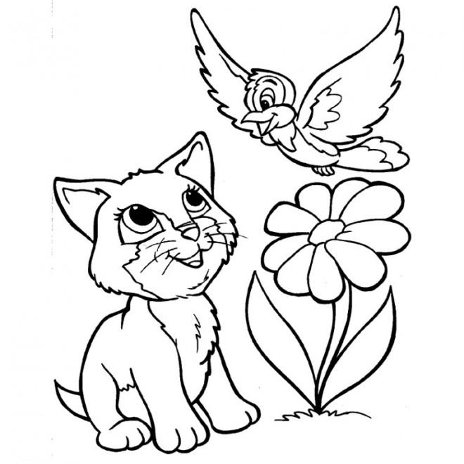 Coloriage et dessins gratuits Fleur et Animaux à imprimer