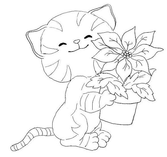 Coloriage et dessins gratuits Fleur et Chat à imprimer