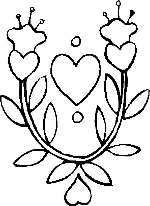 Coloriage Fleur Et Coeur A Imprimer.Coloriage Fleur Et Coeur Dessin Gratuit A Imprimer