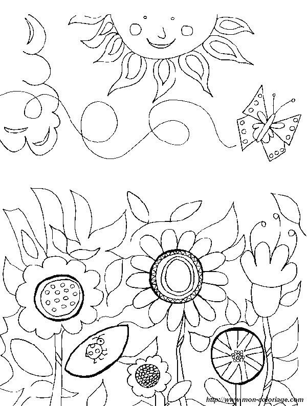 Coloriage et dessins gratuits Fleur et Soleil à imprimer