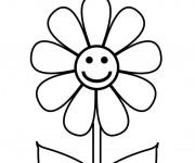 Coloriage et dessins gratuit Fleur heureuse à imprimer