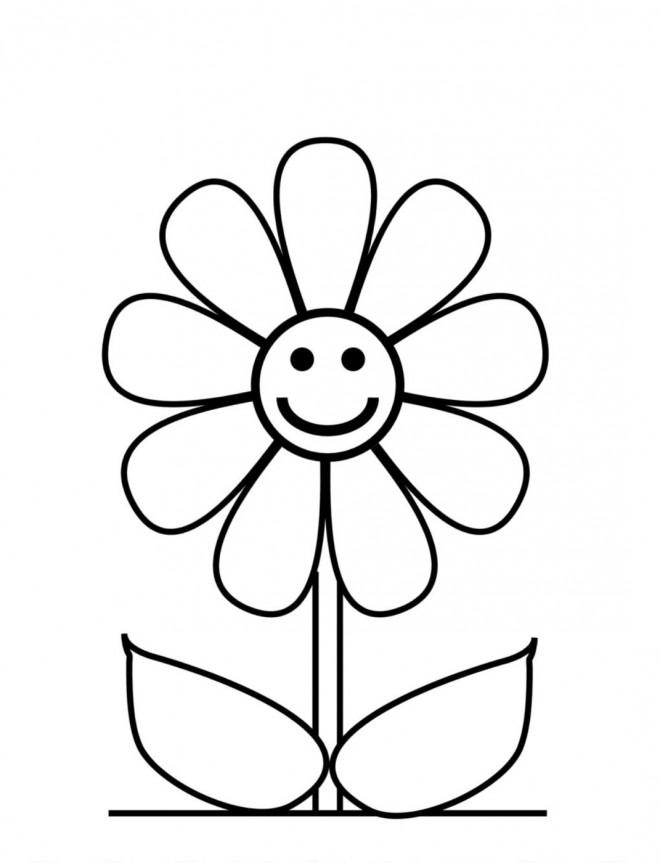 Coloriage et dessins gratuits Fleur heureuse à imprimer