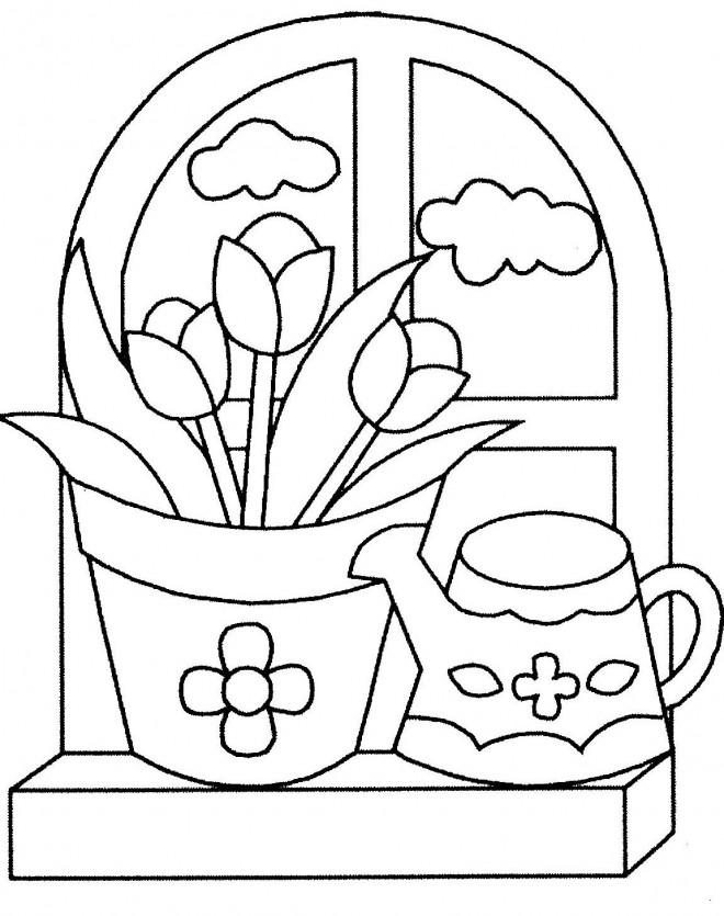 Coloriage et dessins gratuits Fleurs dans la maison à imprimer