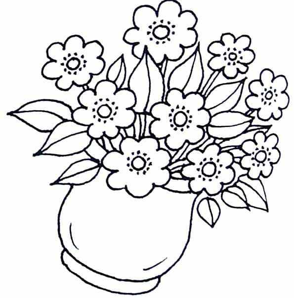 Coloriage fleurs dans la vase dessin gratuit imprimer - Image fleur dessin ...