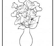 Coloriage et dessins gratuit Fleurs dans une vase à imprimer