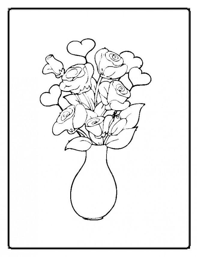 Coloriage et dessins gratuits Fleurs dans une vase à imprimer