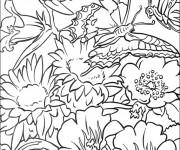 Coloriage et dessins gratuit Fleurs et papillons à imprimer