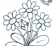 Coloriage Papillon et Fleurs en printemps