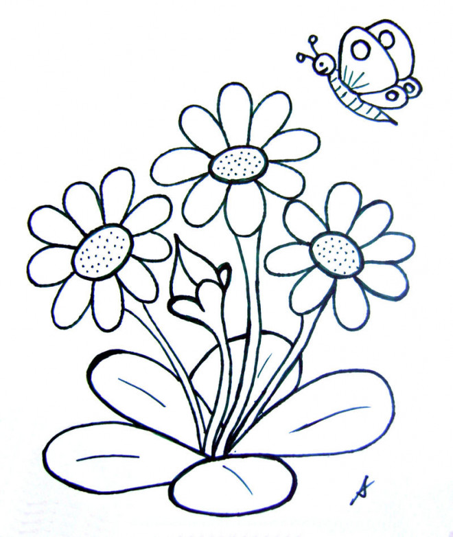 Coloriage Fleur Printemps A Imprimer.Coloriage Papillon Et Fleurs En Printemps Dessin Gratuit A Imprimer