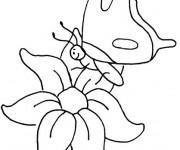 Coloriage Papillon sur Fleur