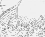 Coloriage et dessins gratuit Fond Marin et Bateaux à imprimer