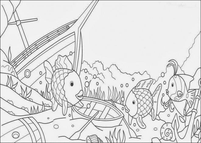 Coloriage et dessins gratuits Fond Marin et Bateaux à imprimer