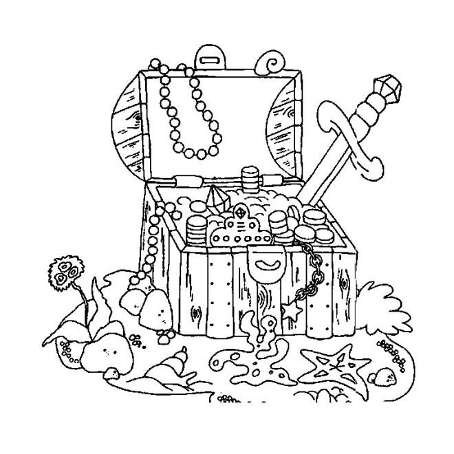 Coloriage fond marin et le tr sor dessin gratuit imprimer - Dessin de coffre de pirate ...