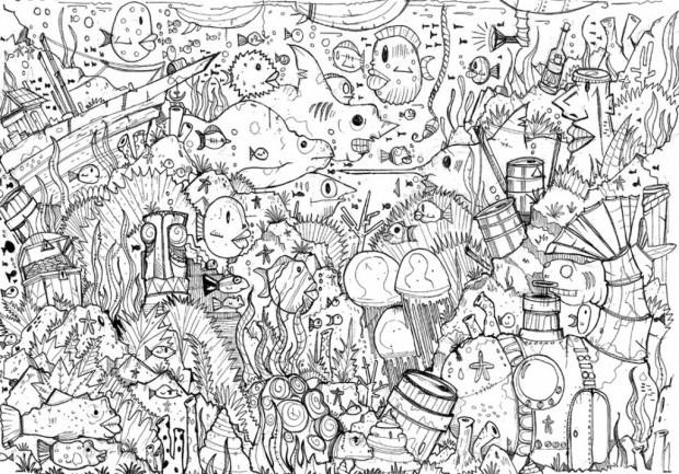 Coloriage et dessins gratuits Fond Marin plein de vie à imprimer