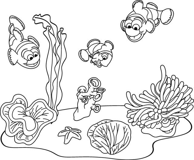 Coloriage et dessins gratuits Fond Marin poissons à imprimer
