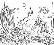 Coloriage et dessins gratuit La vie Fond Marine à imprimer