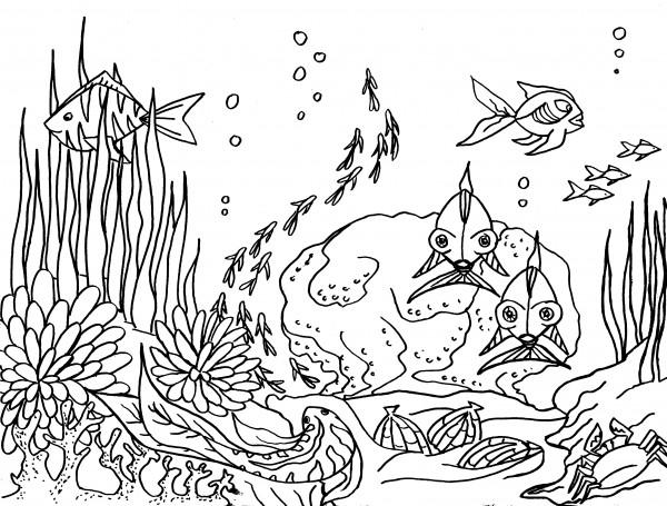 Coloriage et dessins gratuits La vie Fond Marine à imprimer