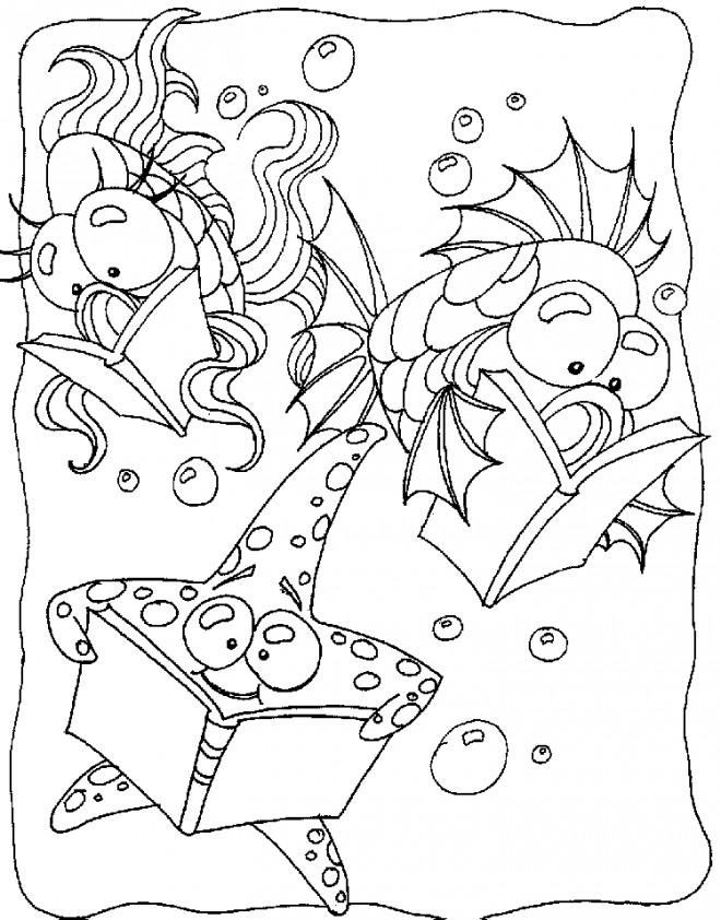 Coloriage et dessins gratuits Les poissons qui lisent à imprimer