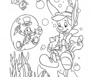 Coloriage Pinocchio et Criquet en mer