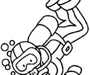 Coloriage et dessins gratuit Plongeur Fond Marin à imprimer