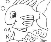 Coloriage et dessins gratuit Poisson Fond Marin à imprimer