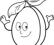 Coloriage et dessins gratuit Abricot qui sourit à imprimer