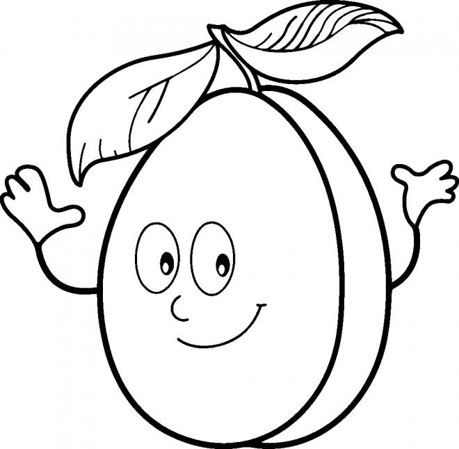 Coloriage et dessins gratuits Abricot qui sourit à imprimer