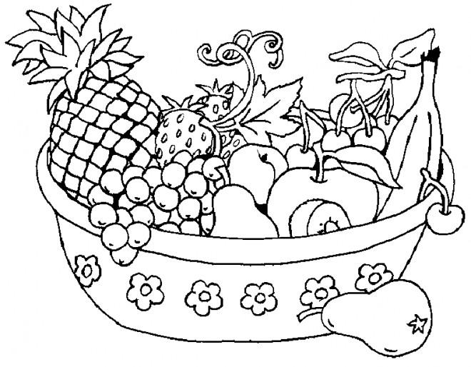 Coloriage et dessins gratuits Corbeille de Fruits à imprimer