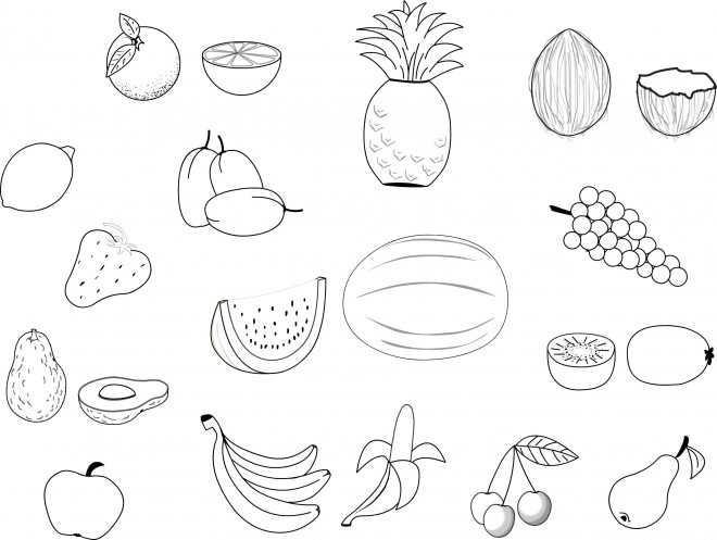 Coloriage fruits colorier dessin gratuit imprimer - Fruits a colorier et a imprimer ...