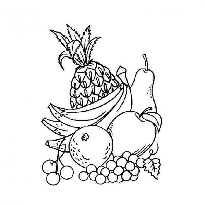 Coloriage et dessins gratuits Fruits à découper à imprimer