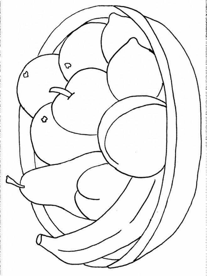 Coloriage et dessins gratuits Fruits arrangés dans un Panier à imprimer