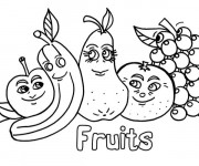 Coloriage Fruits rigolos amis