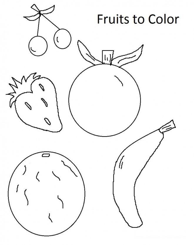 Coloriage et dessins gratuits Fruits stylisés en couleur à imprimer