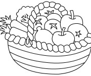 Coloriage Panier de Fruits