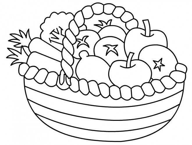 Coloriage Panier De Fruits Dessin Gratuit à Imprimer