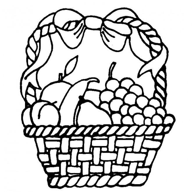 Coloriage et dessins gratuits Panier de Fruits décoré à imprimer