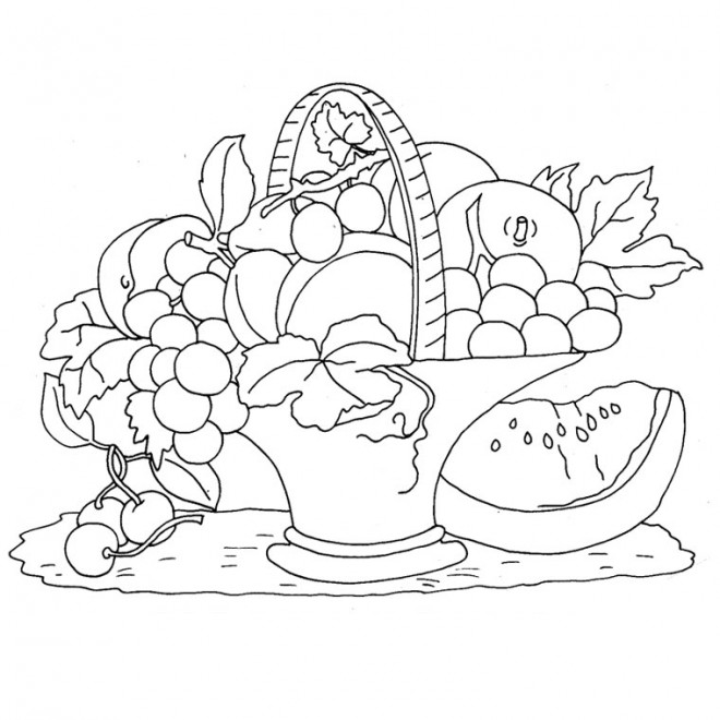 Coloriage et dessins gratuits Panier de Fruits en couleur à imprimer