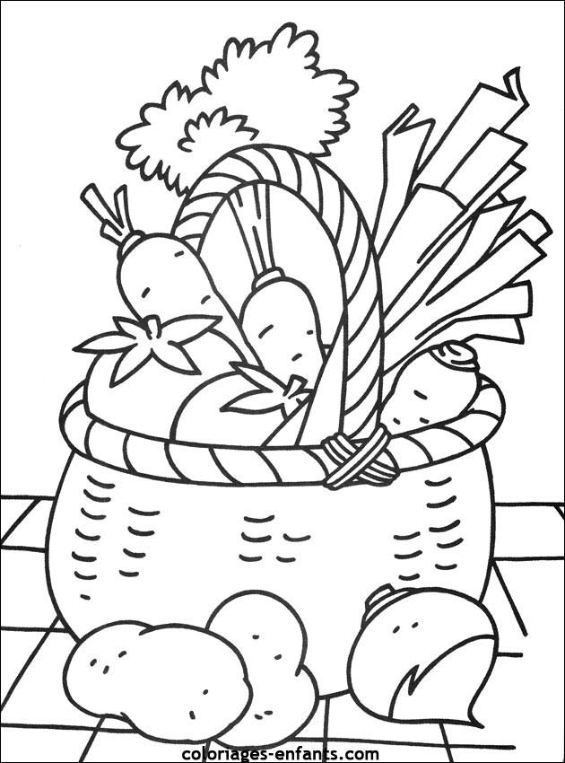 Coloriage panier de l gumes et fruits dessin gratuit - Dessin de legumes ...