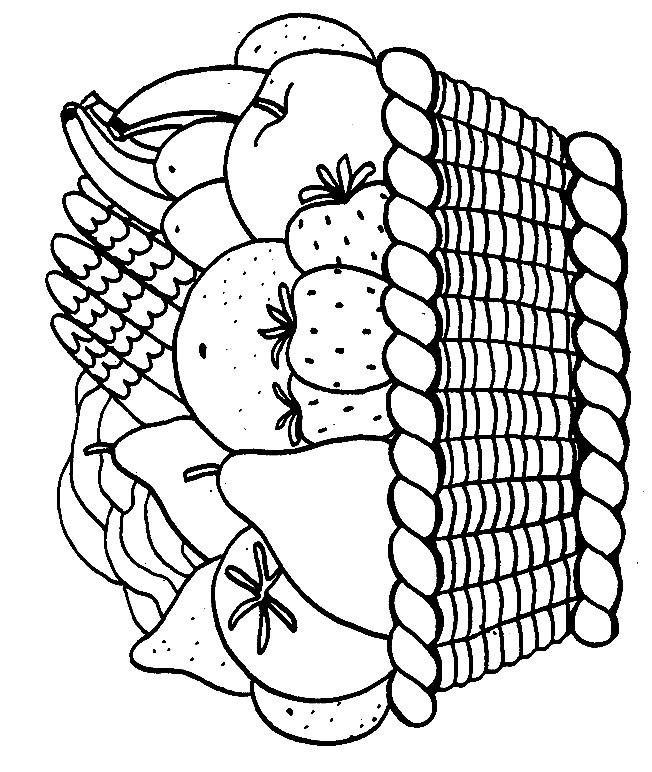 Coloriage et dessins gratuits Panier plein de Fruits à imprimer