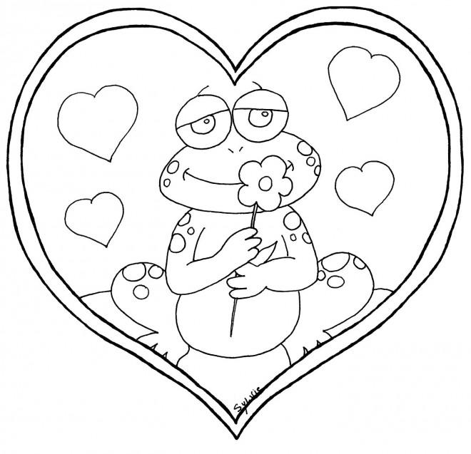 Coloriage et dessins gratuits Grenouille amoureux à imprimer