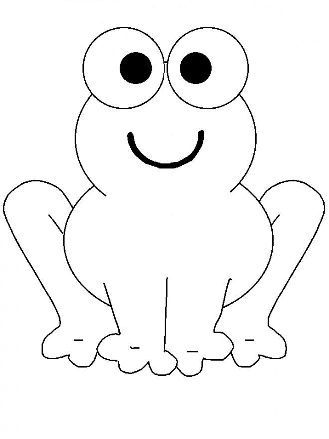Coloriage et dessins gratuits Grenouille avec le sourire sur le visage à imprimer