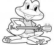 Coloriage et dessins gratuit Grenouille Musicien à imprimer