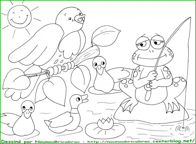 Coloriage et dessins gratuits Grenouille qui pêche à imprimer
